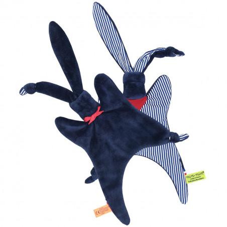 Vue de dos doudou Jean Paul Gaultier. Cadeau personnalisable et fabriqué en France. Nin-Nin