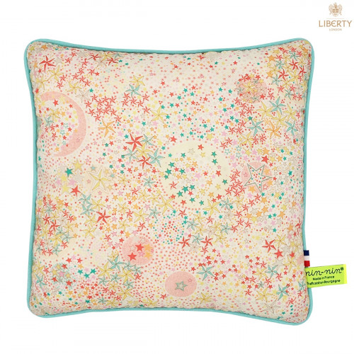 Coussin Poppy Liberty of London. Cadeau de naissance original personnalisable et made in France. Nin-Nin