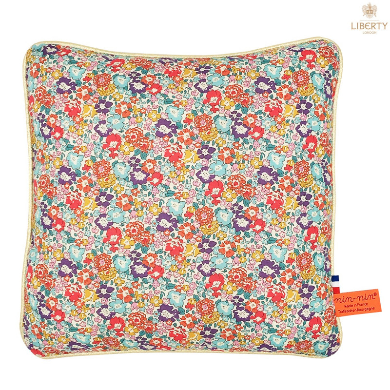 Coussin Victoria Liberty of London. Cadeau de naissance original personnalisable et made in France. Nin-Nin
