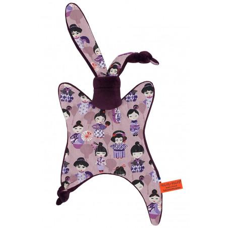 Doudou Minoshi représentant des poupées geisha Japonaises. Cadeau personnalisable et made in France. Marque Nin-Nin