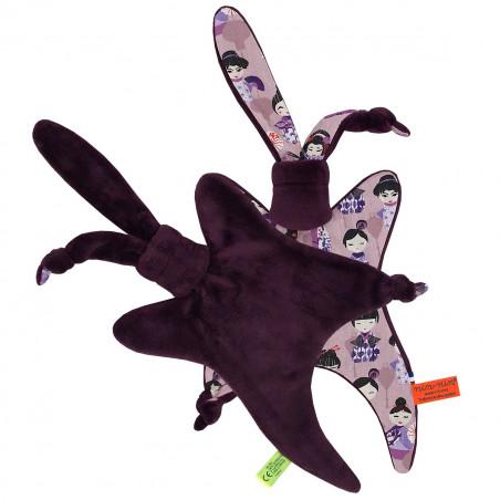 Coté peluche doudou Minoshi représentant des poupées geisha Japonaises. Cadeau personnalisable et made in France. Marque Nin-Nin