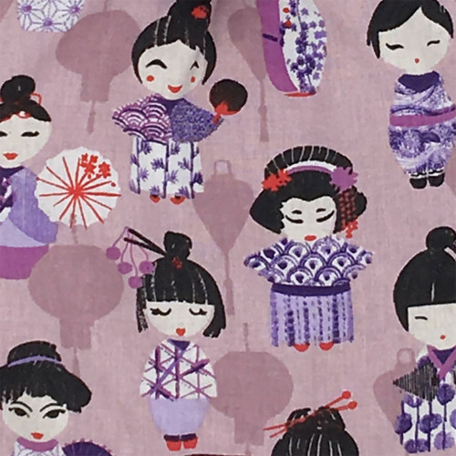 Fabric personalised baby comforter with small Geishas. Original birth gift made in France. Nin-Nin