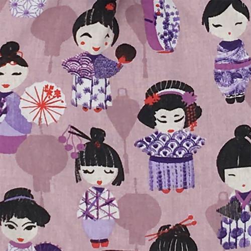 Tissu doudou Minoshi représentant des poupées geisha Japonaises. Cadeau personnalisable et made in France. Marque Nin-Nin