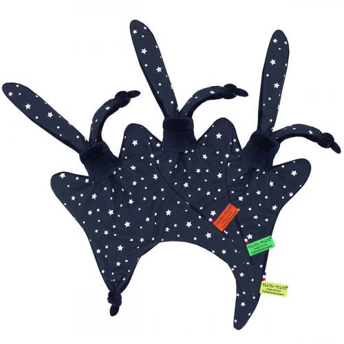 Étiquettes doudou l'Orion représentant des étoiles sur fond marine. Cadeau personnalisable et made in France. Marque Nin-Nin
