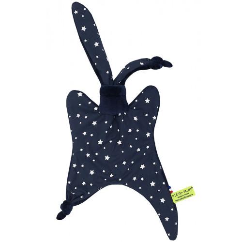 Doudou l'Orion représentant des étoiles sur fond marine. Cadeau personnalisable et made in France. Marque Nin-Nin