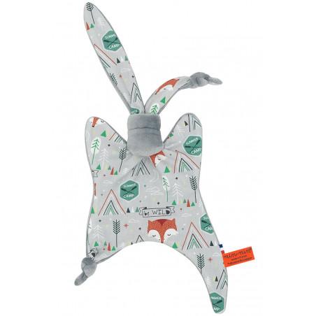 Doudou Le Fox représentant des renards. Cadeau de naissance personnalisable et made in France. Marque Nin-Nin