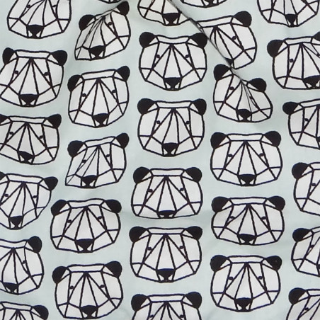 Tissu doudou Panda Tian Bao. Cadeau de naissance original personnalisable et made in France. Marque Nin-Nin