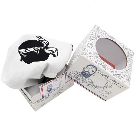 Cube tatoué doudou Le Corse tête de Maure. Cadeau de naissance personnalisable et made in France. Marque Nin-Nin