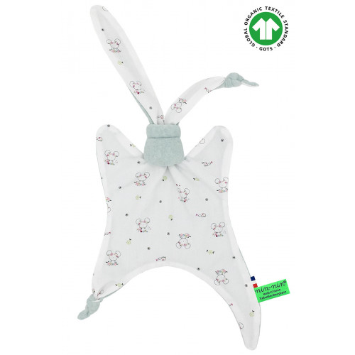Organic baby comforter Le Souris Verte. Gots soft toy mad ein France. Nin-Nin