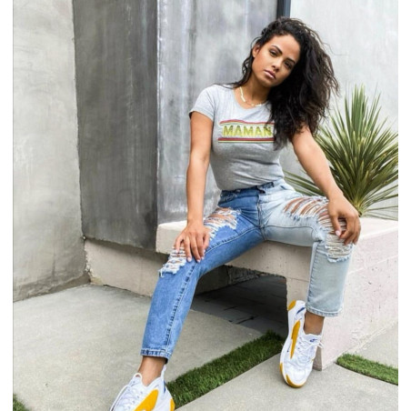 Christina Milian et son t-shirt Maman. Made in France
