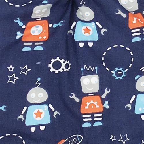 Tissu doudou Le Robot. Cadeau de naissance personnalisable et made in France. Marque Nin-Nin
