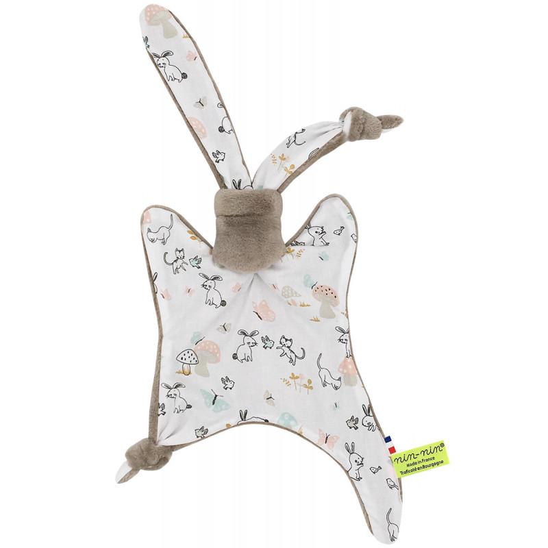 Doudou lapin de pâques. Cadeau de naissance personnalisable et made in France. Marque Nin-Nin