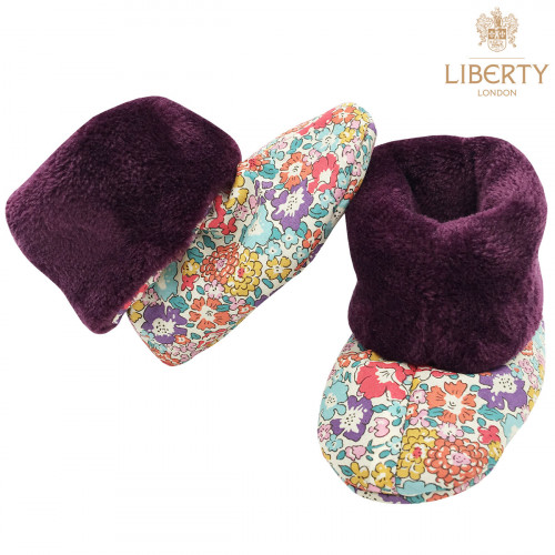 Chaussons hauts botton Victoria Liberty of London pour bébé. Cadeau de Naissance Made in France. Nin-Nin
