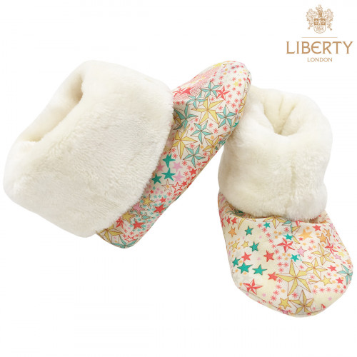 Chaussons hauts botton Poppy Liberty of London pour bébé. Cadeau de Naissance Made in France. Nin-Nin