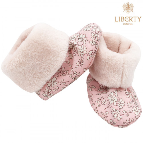 Chaussons hauts botton Thelma Liberty of London pour bébé. Cadeau de Naissance Made in France. Nin-Nin