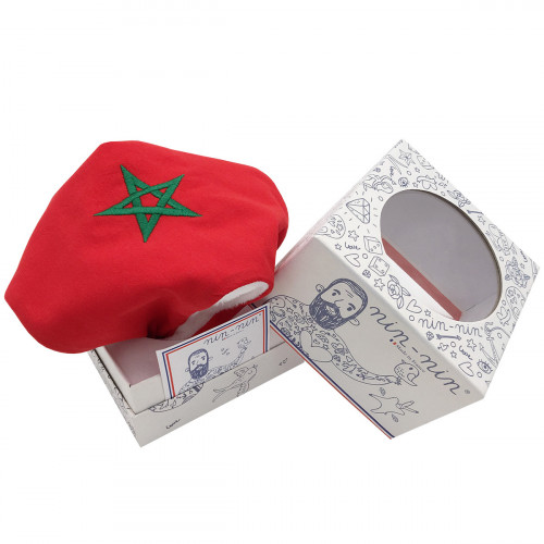 Packaging baby comforter Le Marocain. Original and personalised soft toy. Made in France. Nin-Nin brand