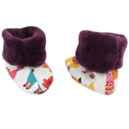 Chaussons chauds péruvien lamas pour bébé. Cadeau de Naissance Made in France. Nin-Nin