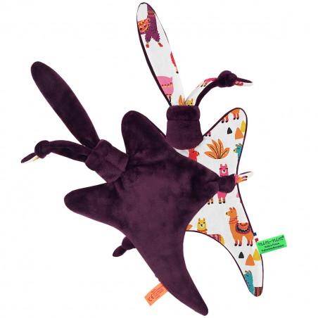 Côté peluche doudou Péruvien représentant de jolis lamas multicolores. Cadeau personnalisable et made in France. Marque Nin-Nin