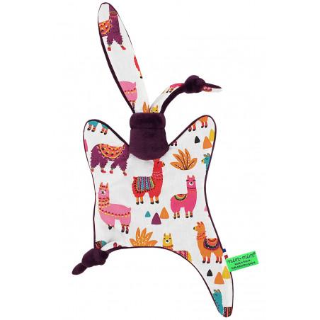 Doudou Péruvien représentant de jolis lamas multicolores. Cadeau personnalisable et made in France. Marque Nin-Nin