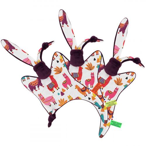 Doudou étiquettes Péruvien représentant de jolis lamas multicolores. Cadeau personnalisable et made in France. Marque Nin-Nin