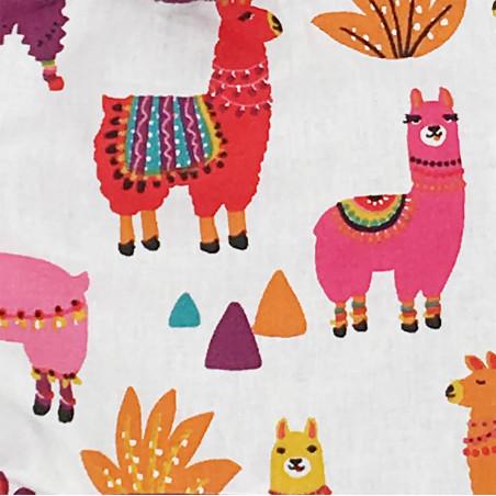 Tissu doudou Péruvien représentant de jolis lamas multicolores. Cadeau personnalisable et made in France. Marque Nin-Nin