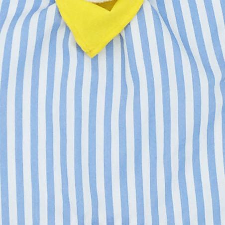 Tissu doudou Le Marin Pêcheur à rayures bleues claires et blanches. Cadeau personnalisable et made in France. Nin-Nin
