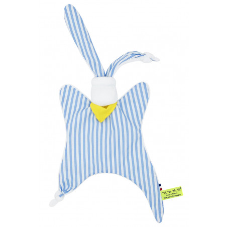 Doudou Le Marin Pêcheur à rayures bleues claires et blanches. Cadeau personnalisable et made in France. Marque Nin-Nin