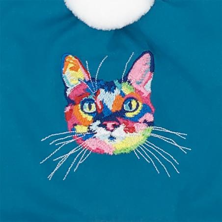 Broderie chat Doudou Le Chatperlipopette. Cadeau de naissance personnalisable et made in France. Marque Nin-Nin