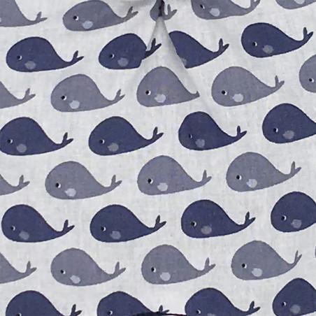 Tissu doudou baleines. Cadeau de naissance personnalisable et made in France. Marque Nin-Nin