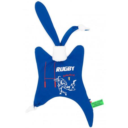 Doudou Le Rugby pour les fans du XV de France. Cadeau de naissance personnalisable et made in France. Nin-Nin