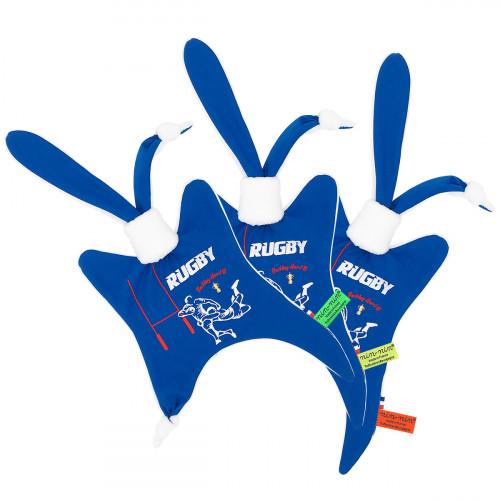 Doudou étiquette Le Rugby pour les fans du XV de France. Cadeau de naissance personnalisable et made in France. Nin-Nin