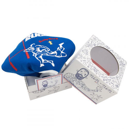 Doudou plat Le Rugby pour les fans du XV de France. Cadeau de naissance personnalisable et made in France. Nin-Nin