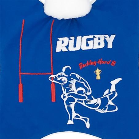 Broderie doudou Le Rugby pour les fans du XV de France. Cadeau de naissance personnalisable et made in France. Nin-Nin