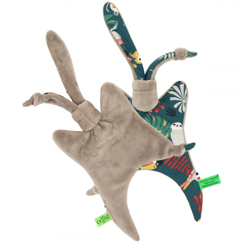 Vue arrière doudou Le Tropical camel. Cadeau de naissance original et made in France. Nin-Nin