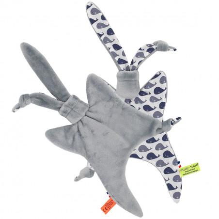 Côté peluche doudou baleines grises. Cadeau de naissance personnalisable et made in France. Marque Nin-Nin