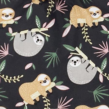 Tissu doudou plat Le Paresseux camel. Cadeau de naissance personnalisable, original et made in France. Nin-Nin