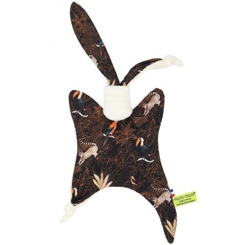 Doudou Le Guyane. Imprimé perroquet, toucan, lémurien. Cadeau de naissance personnalisable et made in France. Nin-Nin