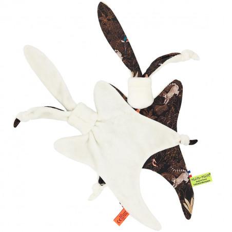 Coté doudou Le Guyane. Imprimé perroquet, toucan, lémurien. Cadeau de naissance personnalisable et made in France. Nin-Nin