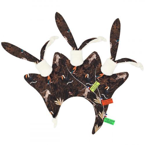Étiquettes doudou Le Guyane. Imprimé perroquet, toucan, lémurien. Cadeau de naissance personnalisable et made in France.