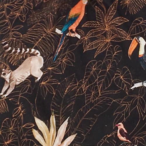Tissu doudou Le Guyane. Imprimé perroquet, toucan, lémurien. Cadeau de naissance personnalisable et made in France. Nin-Nin