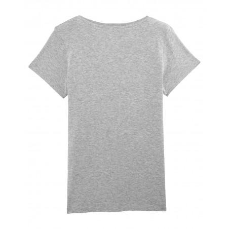 """Dos t-shirt gris pour femme brodé """"Maitresse qui déchire sa race"""". Fabrication Française"""