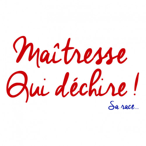 "Broderie ""Maitresse qui déchire sa race"". Made in France"