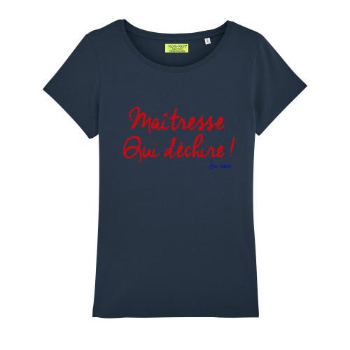 T-Shirt navy pour femme brodé Maitresse qui déchire sa race. Fabrication Française