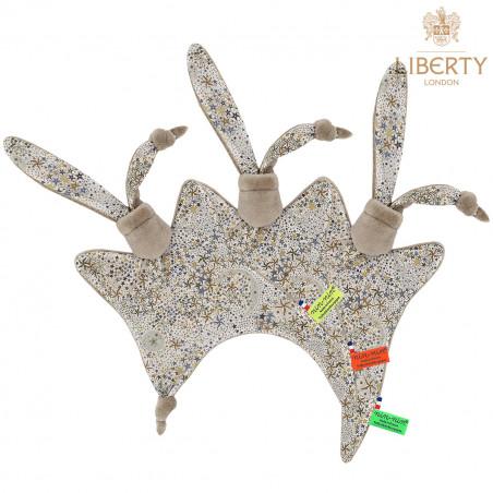 Doudou étiquettes Le Pharell Liberty of London. Cadeau de naissance original personnalisable et made in France. Nin-Nin