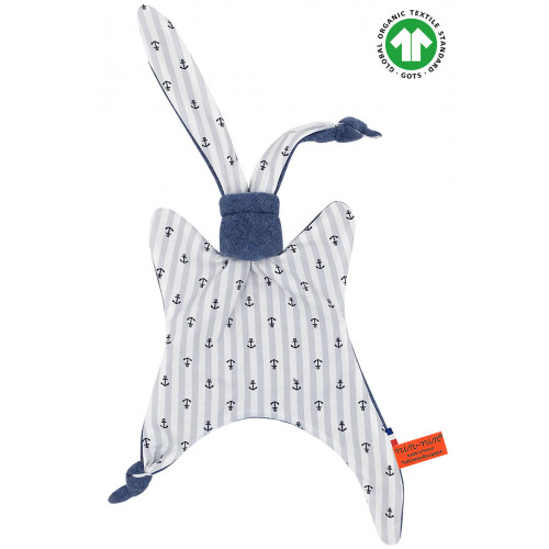 Organic baby comforter Le Moussaillon. Gots soft toy made in France. Nin-Nin