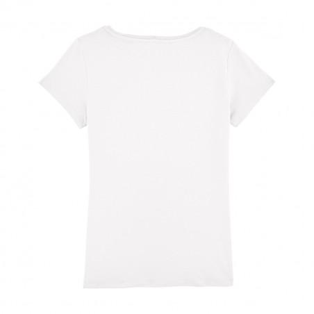 """Dos t-shirt blanc pour femme brodé """"Liberty is pop"""". Fabrication Française"""
