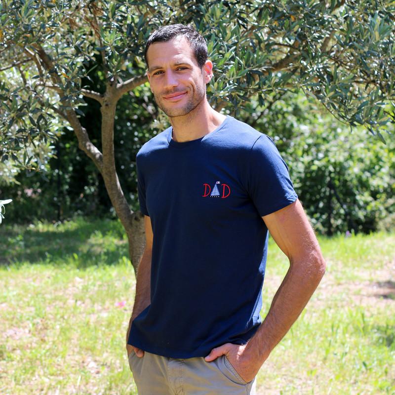 T-shirt pour homme bleu marine DAD fabriqué en France. Nin-Nin