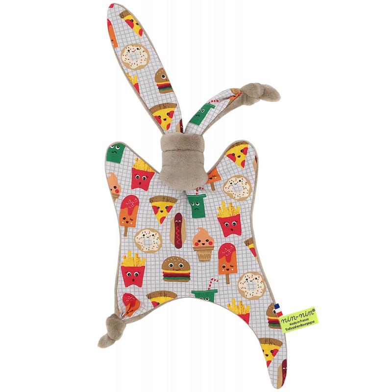 Doudou plat Le Junk Food personnalisable. Cadeau de naissance original et made in France. Nin-Nin