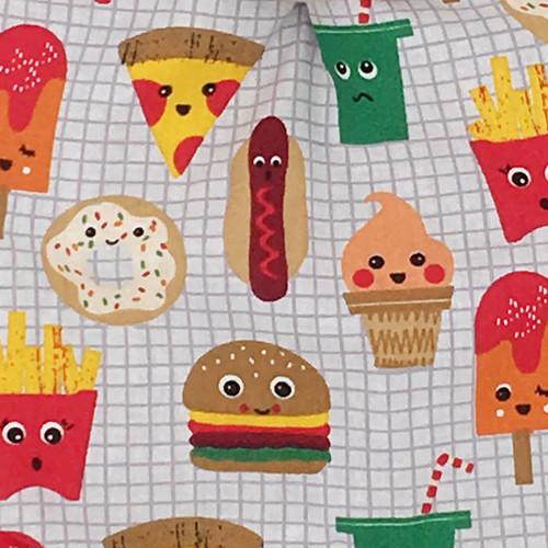 Tissu doudou plat Le Junk Food personnalisable. Cadeau de naissance original et made in France. Nin-Nin