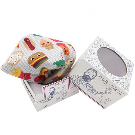 Packaging doudou plat Le Junk Food personnalisable. Cadeau de naissance original et made in France. Nin-Nin